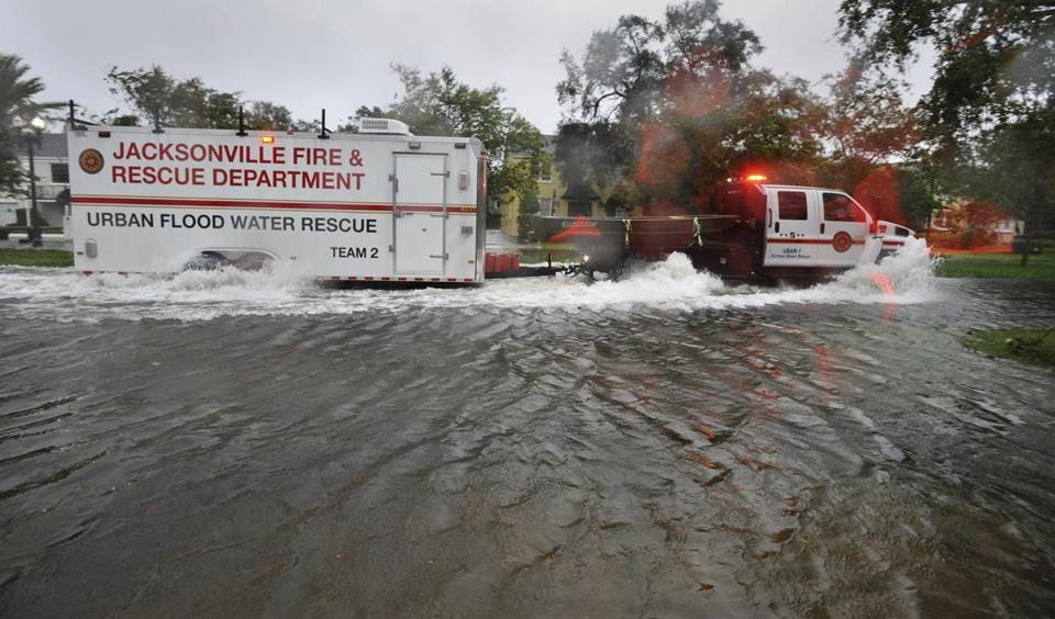 Urban Flood Water Rescue Team 2, with the Jacksonville Fire and Rescue Department, made its way along San Marco Boulevard on the Southbank of downtown as Hurricane Irma passed by Monday.