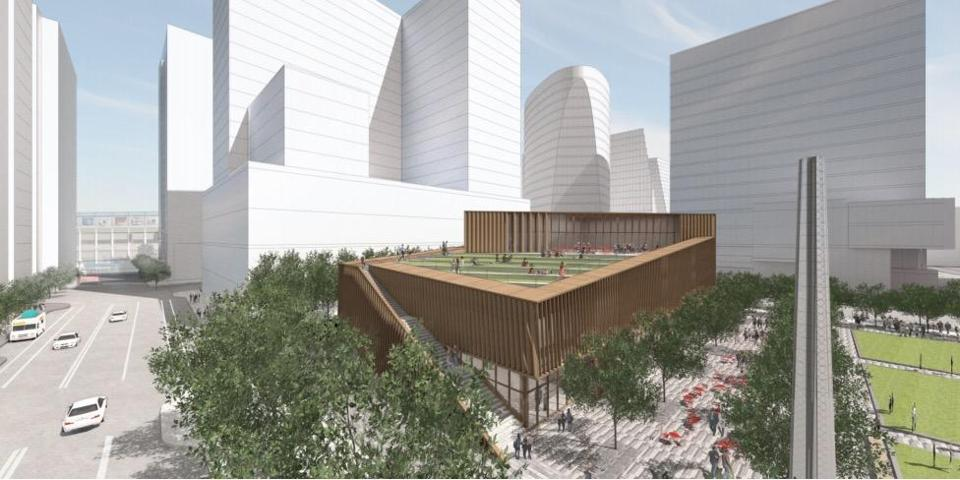 A rendering of a two-story retail building between Seaport Blvd. and Northern Ave., with a newly-proposed rooftop garden that would be open to the public.
