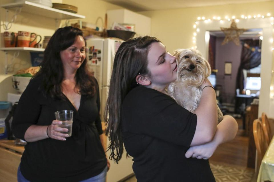 Isabelle Pitrowski (with her mom and her dog Lily) missed almost all of her seventh grade year due to anxiety about school.