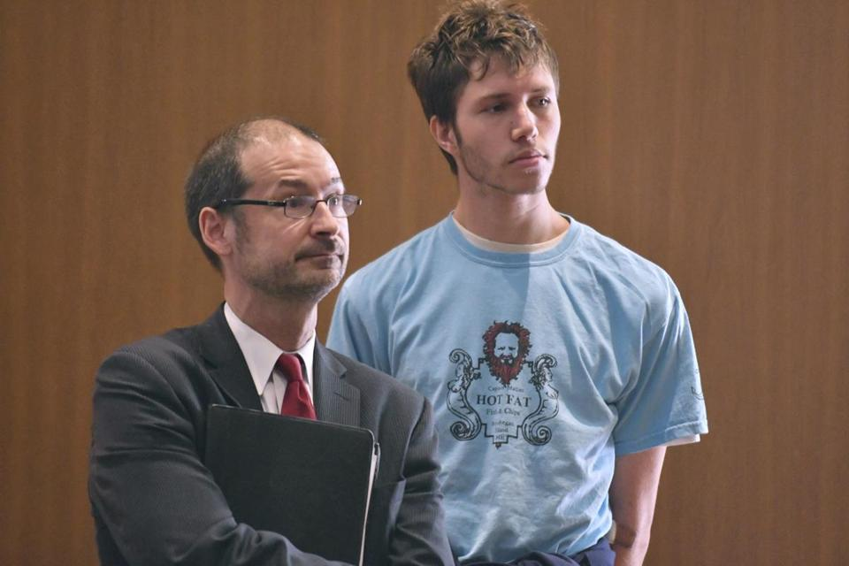 Orion Krause (right) with his attorney, Edward Wayland, during his arraignment Monday in Ayer District Court.
