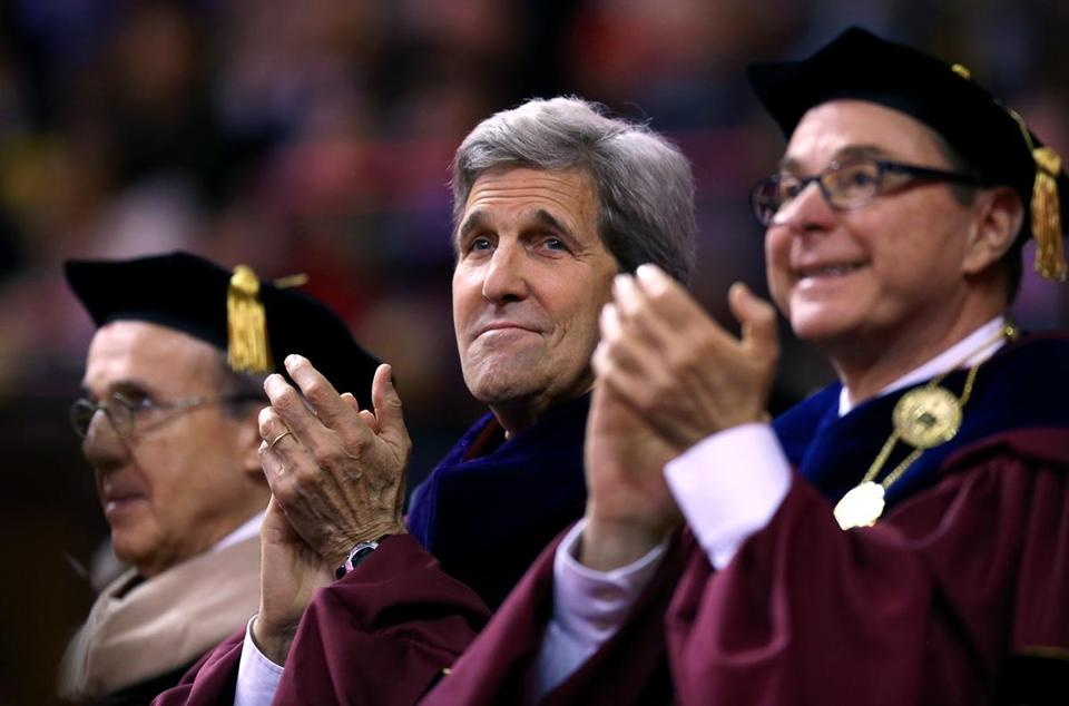 Northeastern President Joseph E. Aoun and then-Secretary of State John F. Kerry during the university's 2016 commencement.