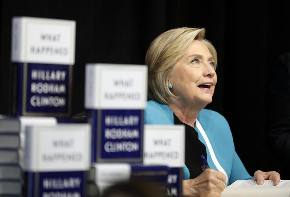 "Hillary Rodham Clinton signed copies of her book ""What Happened"" at a book store in New York Tuesday."