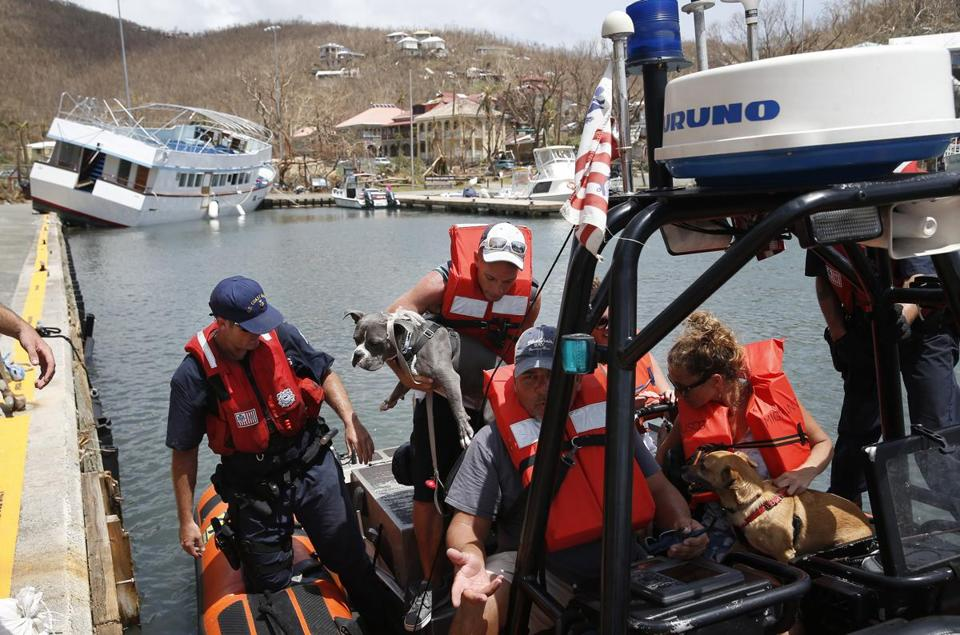 Evacuees were loaded Tuesday onto a Coast Guard boat at Cruz Bay.
