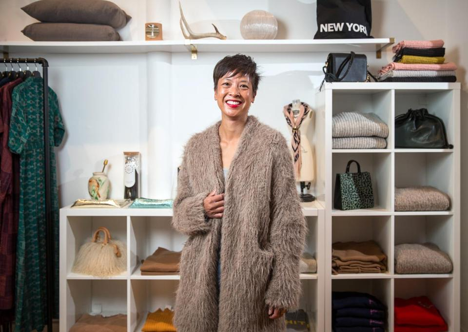 Tina Burgos gets cozy at Covet + Lou  in Needham.