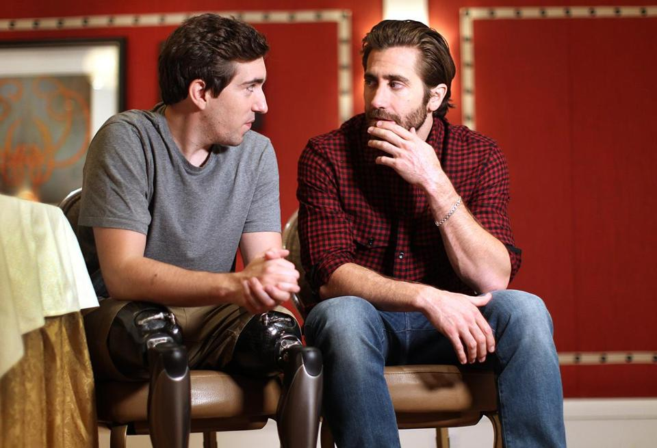 Boston, MA., 09/12/17, Boston Marathon Bombing survivor Jeff Bauman and actor Jake Gyllenhaal who plays him in the movie, Stronger, were on a press visit at the Four Seasons Hotel in advance of the movie screening in Boston. Suzanne Kreiter/Globe staff