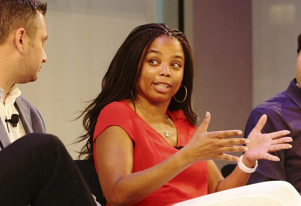 IMAGE DISTRIBUTED FOR HASHTAG SPORTS - Jemele Hill, anchor on ESPN's SportsCenter, speaks on stage with Michael Shiffman, Nate Ravitz, and Daniel Roberts at the Hashtag Sports Conference on Tuesday, June 27, 2017, in New York. (Steve Luciano/AP Images for Hashtag Sports)