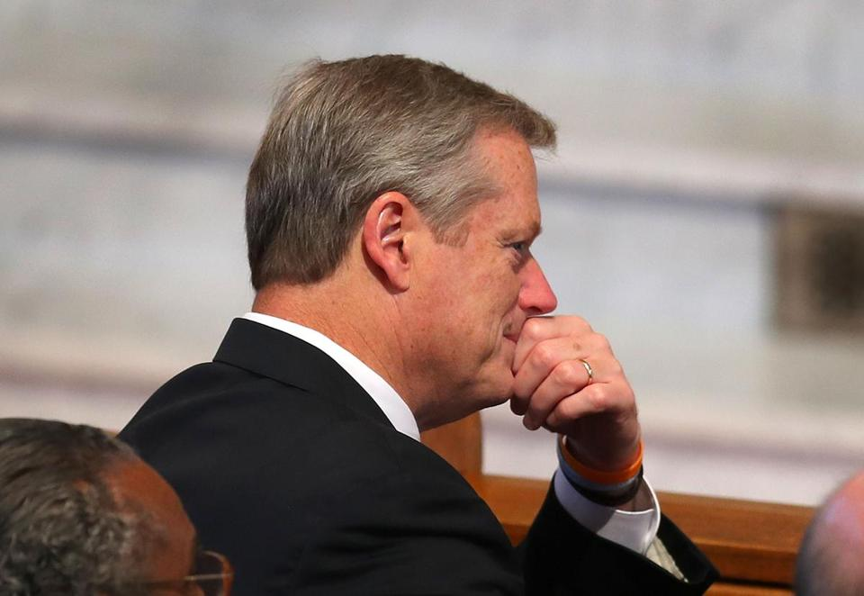 Newton-09/13/17-A funeral service was held for former boxer, State Rep and State Auditor, Joe DeNucci at Our Lady Help of Christians Church. Gov. Charlie Baker listens to his son speak. John Tlumacki/Globe Staff(metro)