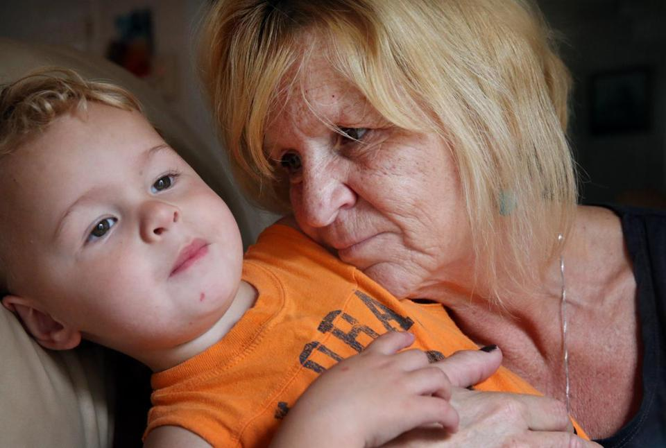 Susan Anderson Lopes and her 2-year-old grandson, Mason Anderson, at their home in Bourne.