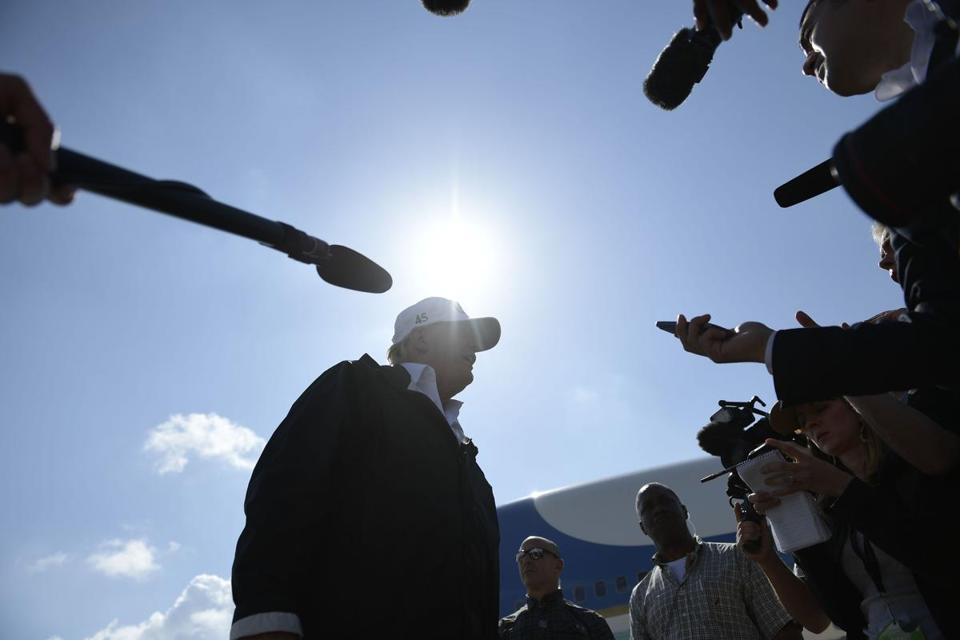 President Donald Trump arrived in Fort Myers, Fla., on Thursday.