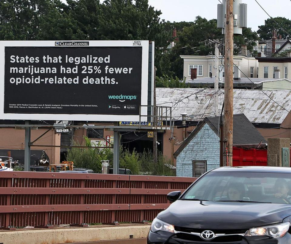 A Weedmaps billboard on Meridian Street in East Boston.