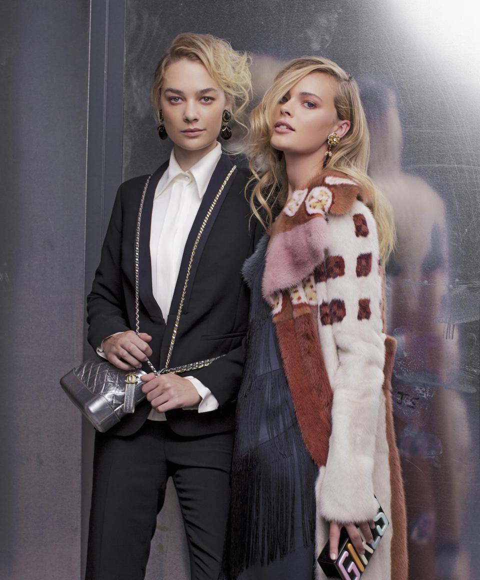 Left, on Ray:Talbots tuxedo jacket, $199; Talbots tuxedo pants, $119; Chanel shirt, $1,700; Chanel Gabrielle bag, $3,600; vintage Miriam Haskell drop earrings, $500 at Twentieth Century Limited. Right, on Anna: Nic + Zoe dress, $228; Valentino coat, price upon request; vintage amber earrings, $700 at Twentieth Century Limited; Natasha Couture clutch, $58 at Nordstrom.