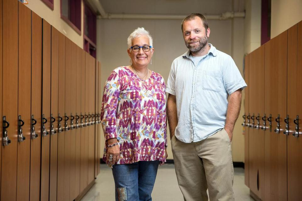 09/14/2017 JAMAICA PLAIN, MA Headmaster Da–ia Vazquez (cq) (left) and Assistant Headmaster Dan Abramoski (cq) pose for a portrait at the Margarita Mu–iz Academy in Jamaica Plain. (Aram Boghosian for The Boston Globe)