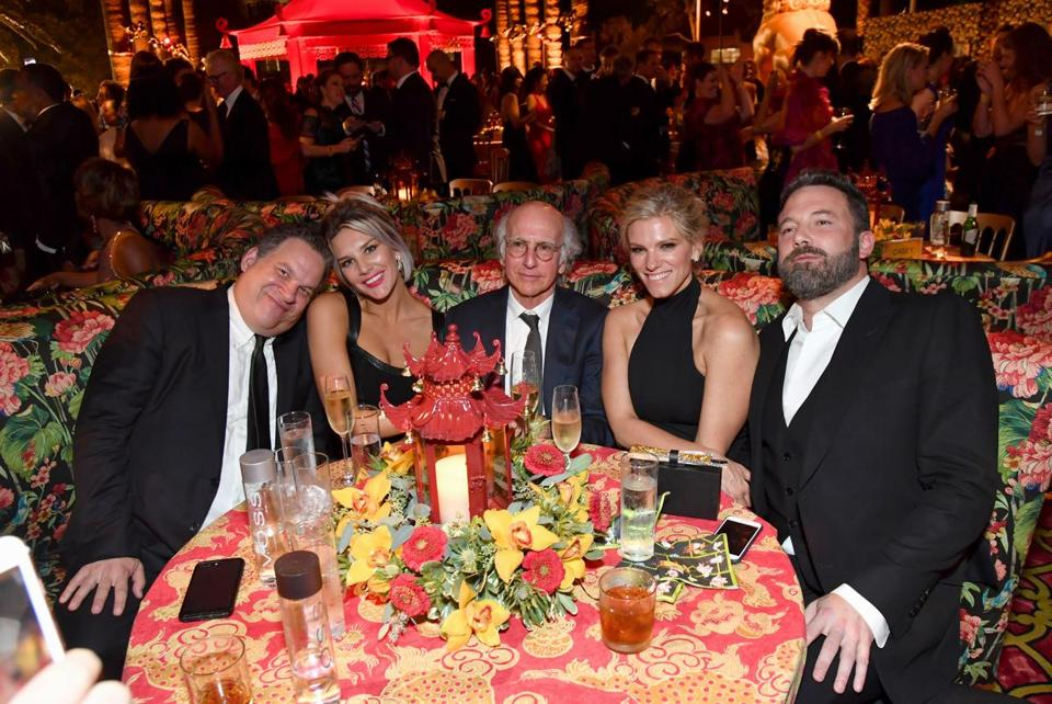 Lindsay Shookus (second from right) at an Emmys party last year with boyfriend Ben Affleck and (from left) Jeff Garlin, Charissa Thompson, and Larry David.