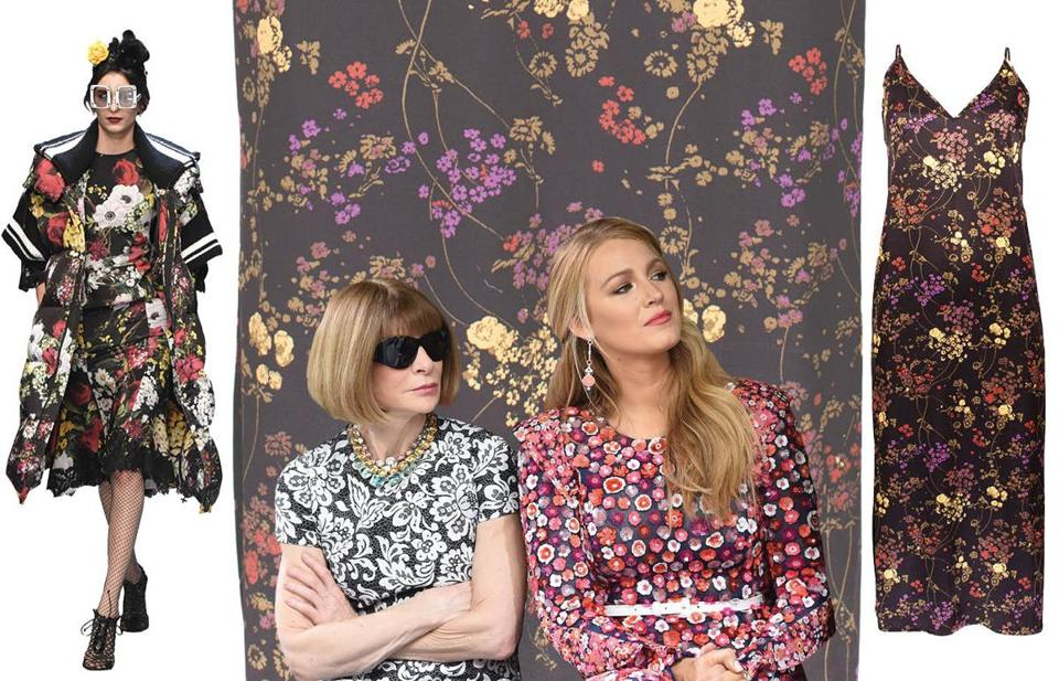 Left: from Dolce & Gabbana's fall show in Milan; center, from left: Vogue's Anna Wintour and actress Blake Lively at New York's Fall Fashion Week; right: Abby slip dress at Ouimillie.