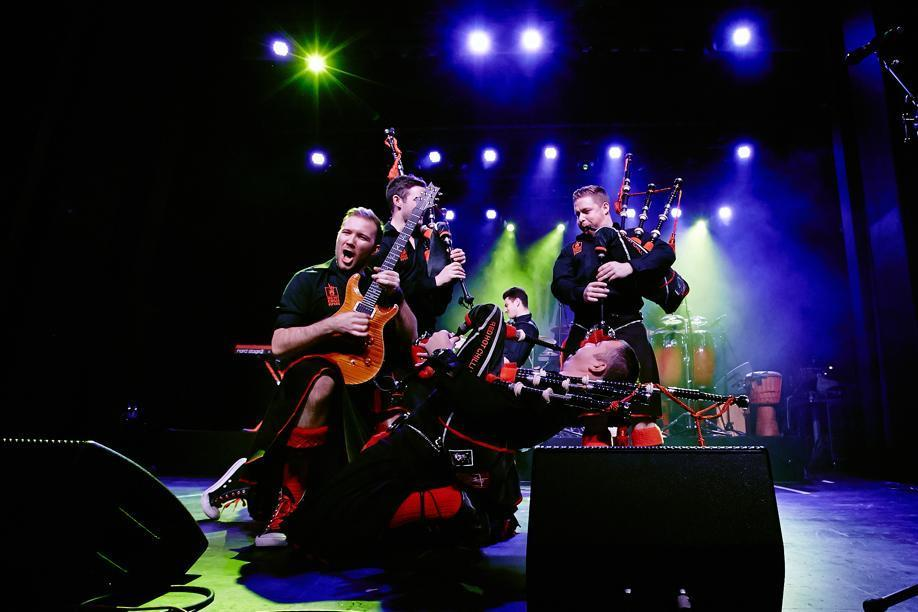 "The nine-piece Scottish band Red Hot Chilli Pipers bring their ""bagrock"" sound to the Cabot in Beverly."