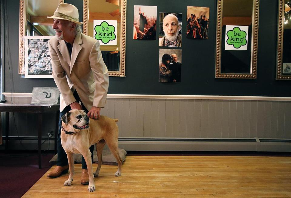 "Hollywood actor Erick Avari, and his dog, Tootsie, were at The Noshery in Amesbury, speaking to groups about kindness, Avari is traveling the country, speaking about kindness. He is known for such films as, ""Independence Day,"" ""The Mummy,"" ""Planet of the Apes,"" and ""Hachi, A Dog's Tale. Mark Lorenz for the Boston Globe."