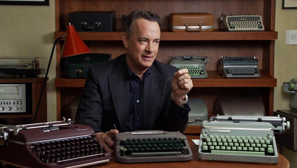 "Tom Hanks talks about his collection of 250 typewriters in a scene from the documentary ""California Typewriter."""