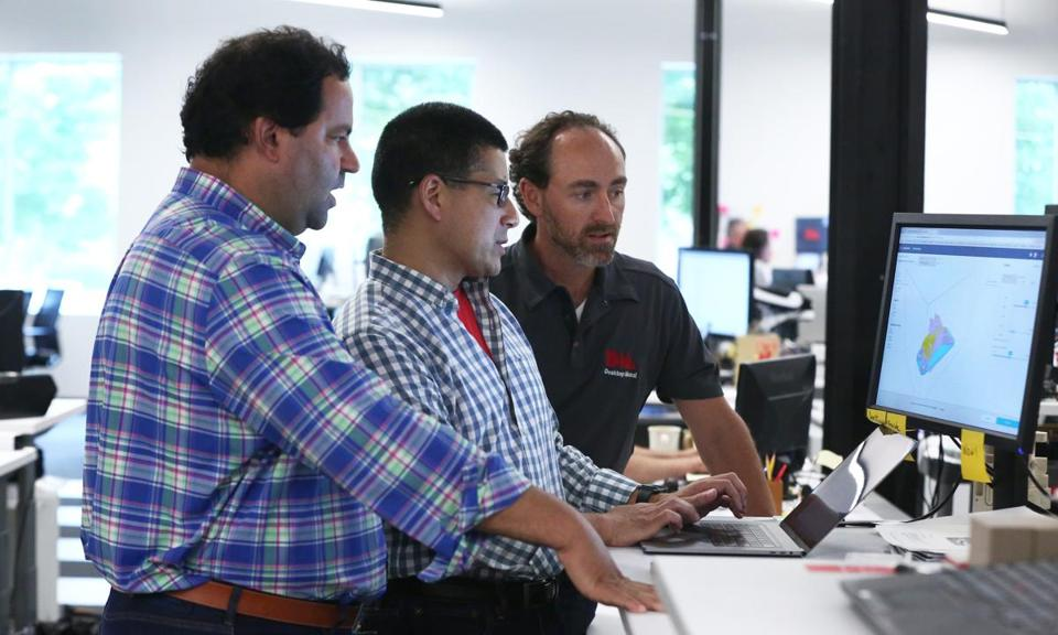 Desktop Metal co-founders (from left) chief executive Ric Fulop (cq), vice president of software Rick Chin, and chief technical officer Jonah Myerberg.