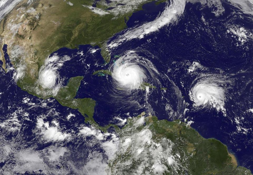 A satellite image from left, Tropical Storm Katia, Hurricane Irma and Tropical Storm Jose, which would intensify into a hurricane. The 2017 Atlantic hurricane season has been unusually active. There have been 13 named storms this year.