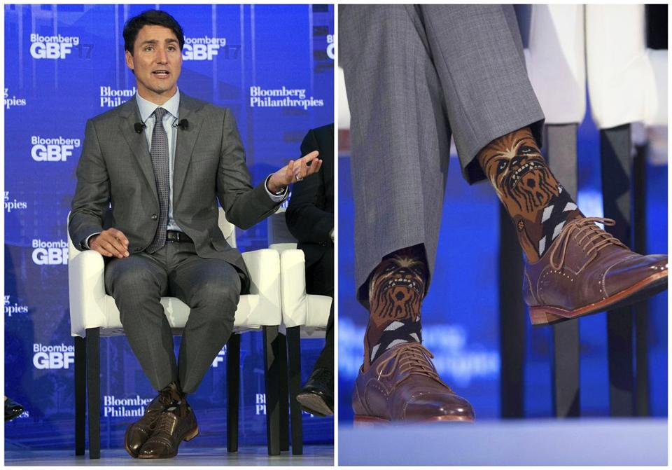 Canadian Prime Minister Justin Trudeau wore socks featuring the