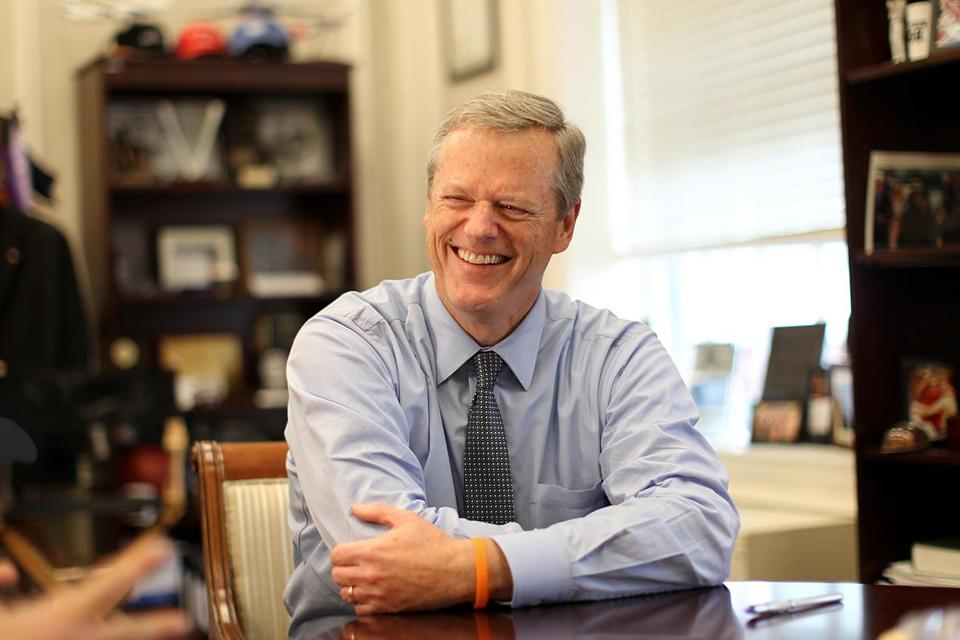 Governor Charlie Baker in his office at the Massachusetts State House.