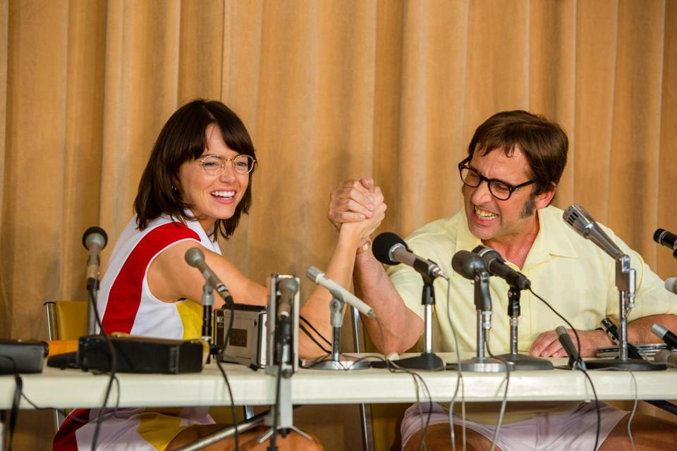 "Emma Stone as Billie Jean King and Steve Carell as Bobby Riggs in ""Battle of the Sexes."""