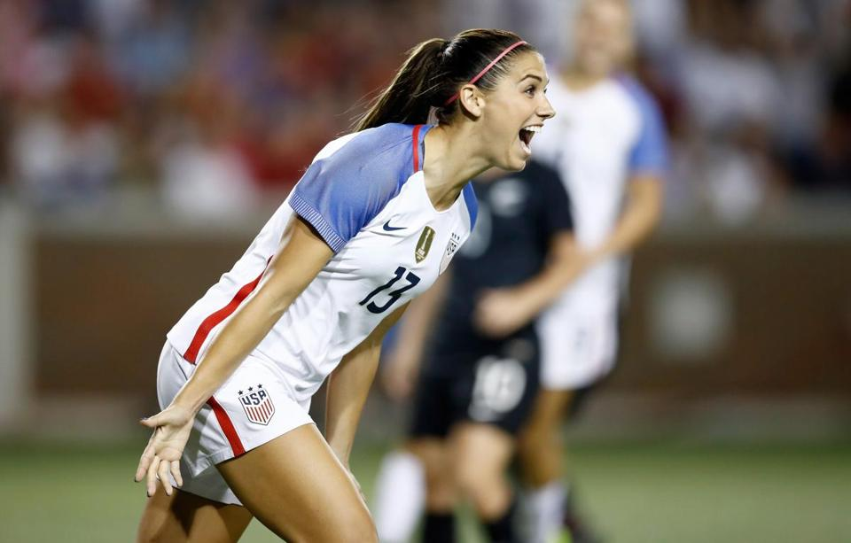CINCINNATI, OH - SEPTEMBER 19: Alex Morgan #13 of the USA celebrates after scoring a goal in the second half of the match against New Zealand at Nippert Stadium on September 19, 2017 in Cincinnati, Ohio. The USA won 5-0 in the international friendly match. (Photo by Andy Lyons/Getty Images)