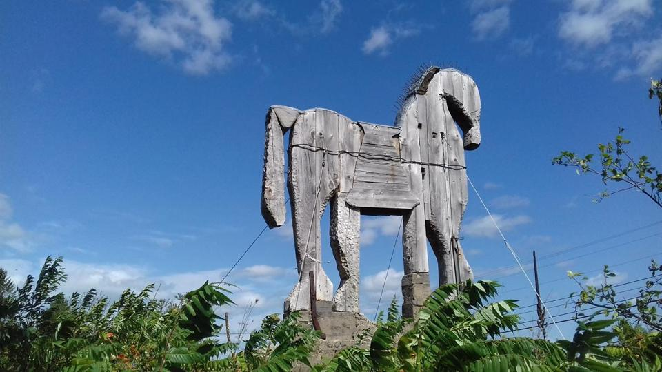 The Langlais Sculpture Preserve in Cushing, Maine, features a variety of work including a large Trojan horse.
