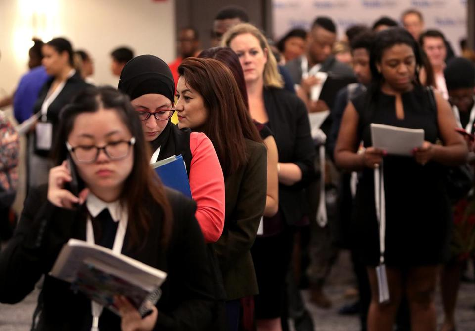 Boston, MA - 9/20/2017 - Job candidates at the Tufts Medical Center skills-based Hiring Fair at Revere Hotel. - (Barry Chin/Globe Staff), Section: Magazine, Reporter: Katie Johnston, Topic: xxTufts Hiring Fair, LOID: 8.3.3721470815.