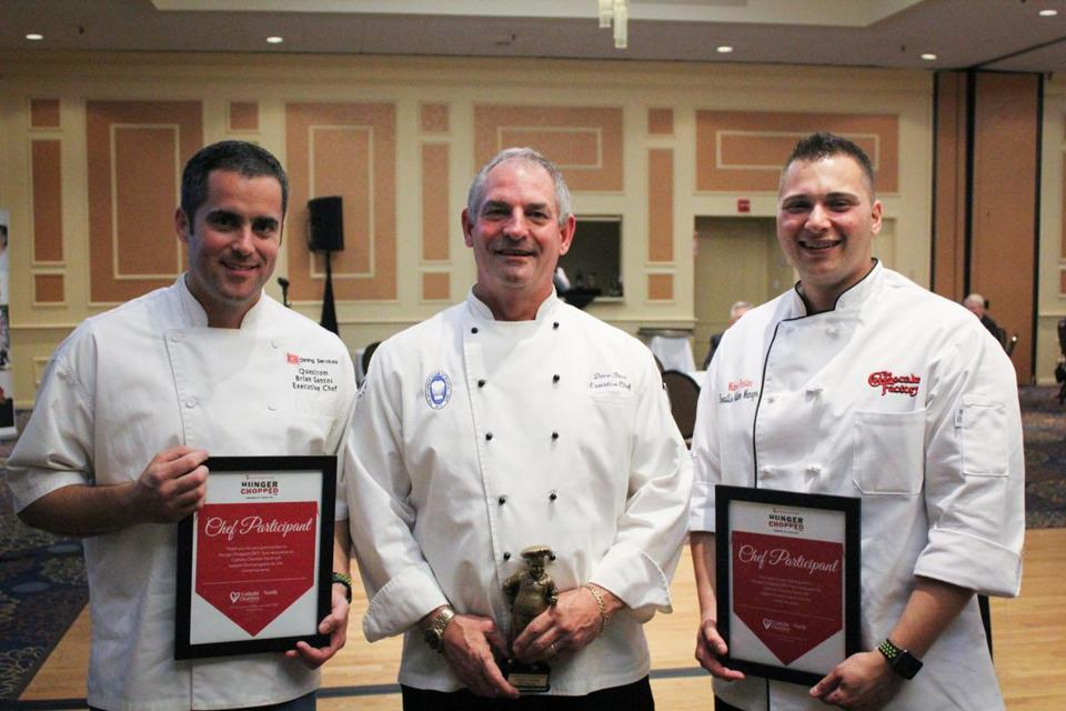 24nochefs - Area chefs Brian Santos, David Titus, and Michael Pantano competed in Catholic Charities' Hunger Chopped event. (Handout)