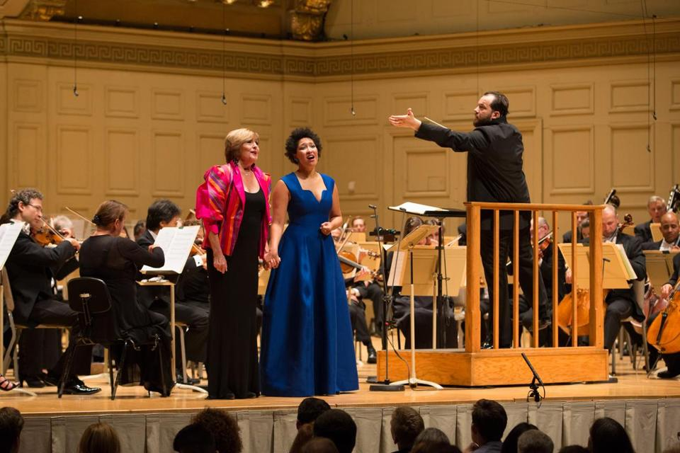 Andris Nelsons leads Julia Bullock and Frederica Von Stade during opening night at Symphony Hall.