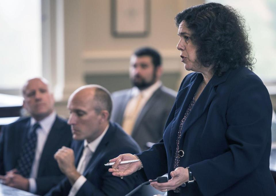 Assistant Attorney General Megan Shafritz speaks at a hearing Monday on the Jay Peak fraud case.