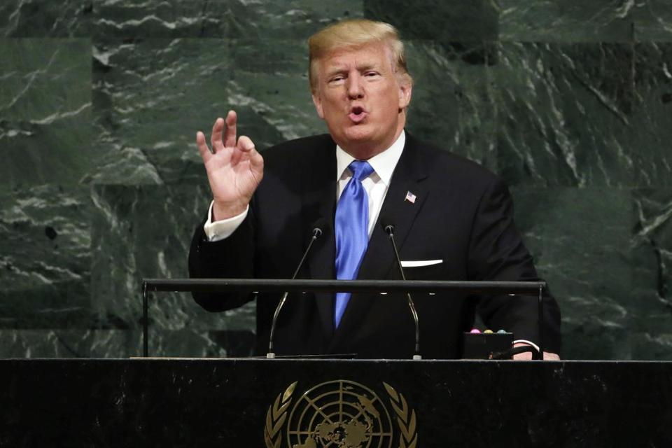 FILE - In this Sept. 19, 2017 file photo, U.S. President Donald Trump addresses the 72nd session of the United Nations General Assembly, at U.N. headquarters. Trump mentioned the South China Sea among regions where national sovereignty has been threatened in his debut address at the United Nations, but offered no direct criticism of China's moves in the area. (AP Photo/Richard Drew, File)
