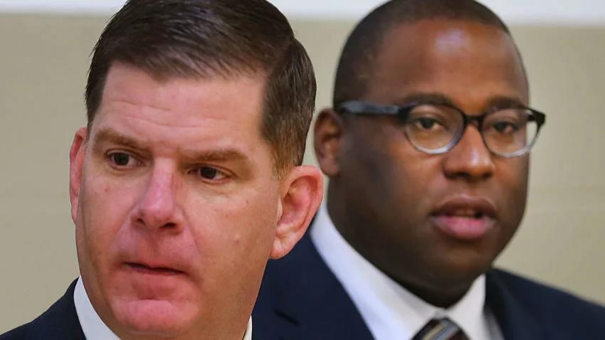 Boston Mayor Marty Walsh and Tito Jackson at the annual MLK Breakfast in January.