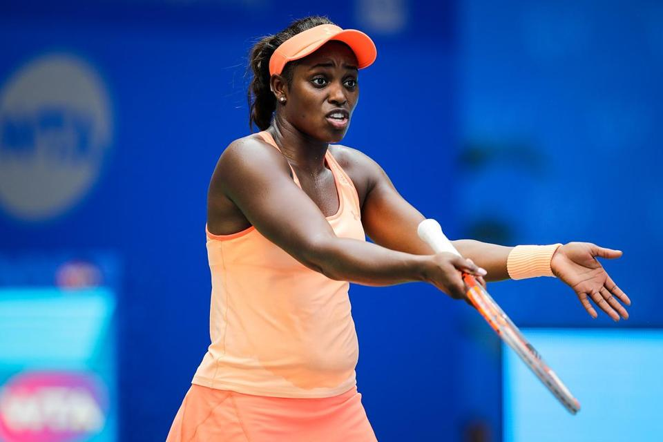 WUHAN, CHINA - SEPTEMBER 25: Sloane Stephens of USA reacts during the match against Qiang Wang of China Day 2 of 2017 Dongfeng Motor Wuhan Open at Optics Valley International Tennis Center on September 25, 2017 in Wuhan, China. (Photo by Wang He/Getty Images)