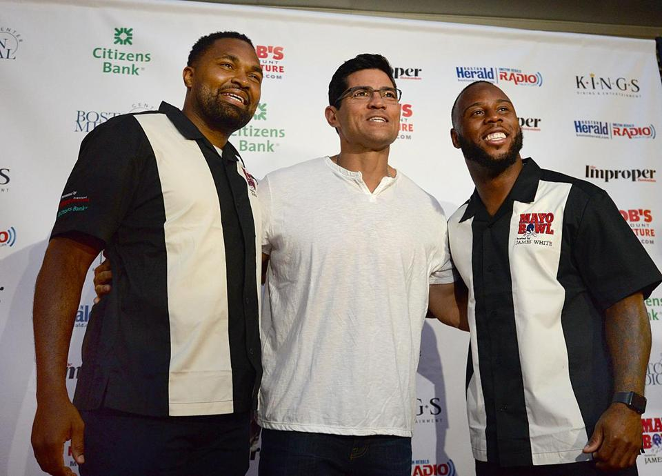 From left: Jerod Mayo, Tedy Bruschi, and James White at the Mayo Bowl at Kings in Dedham.