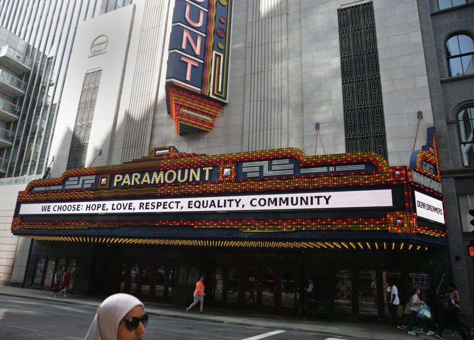 An Emerson College vice president said the marquee has been showing various messages since January 2015.