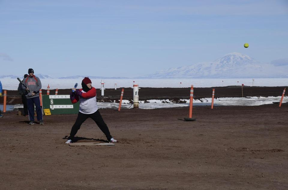 Staffers at McMurdo Station in Antarctica play softball.