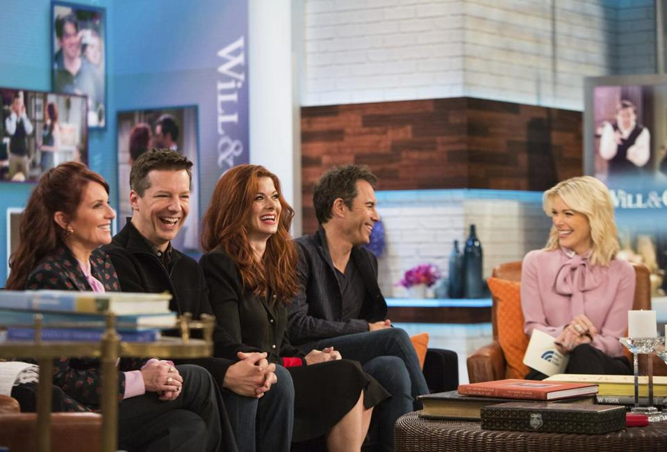 "Megyn Kelly (right) sat with the cast of ""Will & Grace"" (left to right), Megan Mullally, Sean Hayes, Debra Messing, and Eric McCormack Monday on the ""Today"" show."