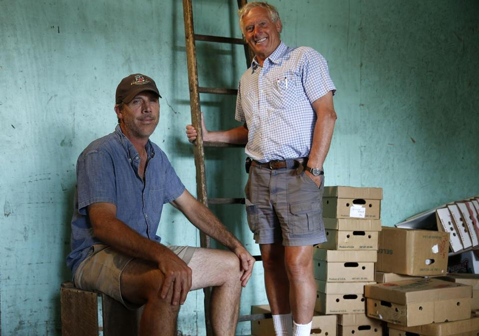 Peter Wagner (right) and his son, Todd, posed for a portrait at Applecrest Farm Orchards.