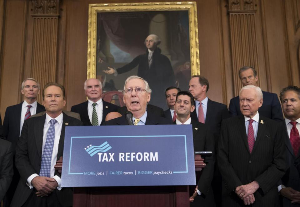 Senate Majority Leader Mitch McConnell joined other GOP lawmakers to talk about the Republican tax proposal.