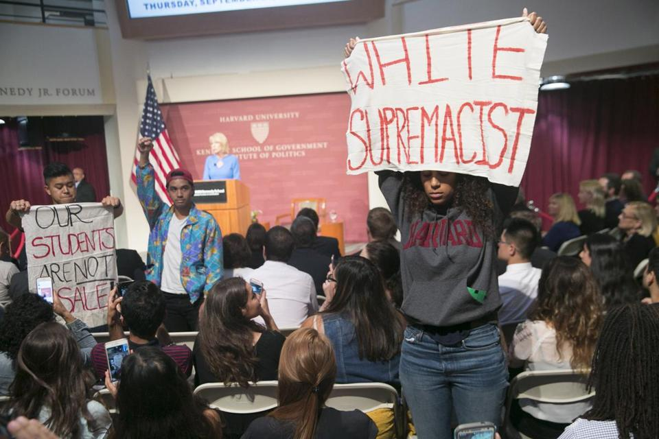 Students protested US Secretary of Education Betsy DeVos during the latter's visit to the Kennedy School of Government at Harvard. Devos was attending a conference on school choice.