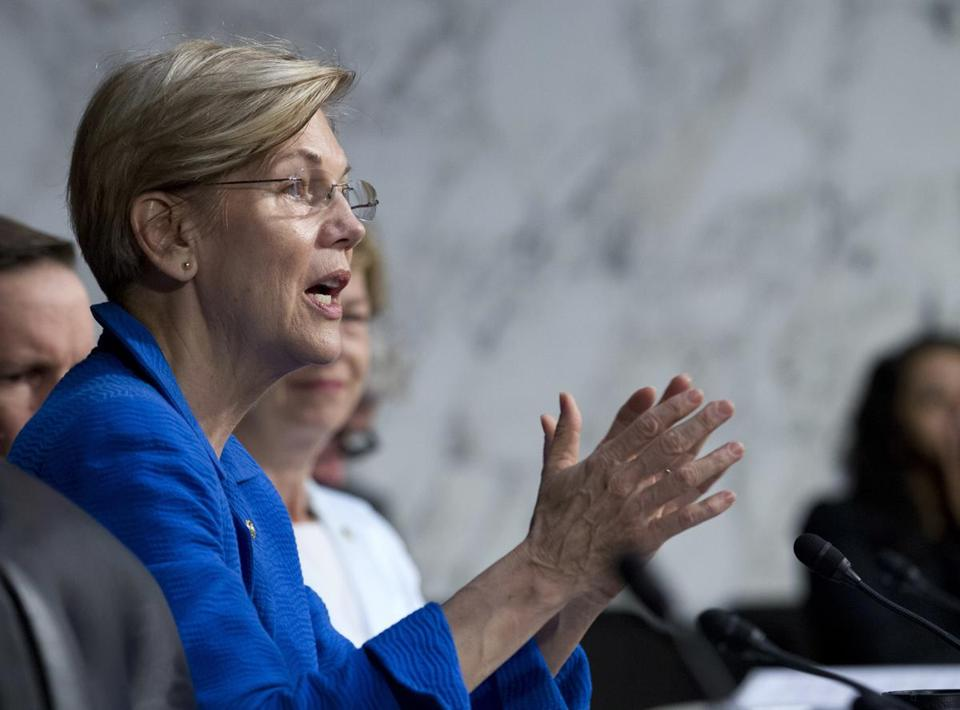 Sen. Elizabeth Warren, D-Mass. speaks to governors at the Senate Health, Education, Labor, and Pensions Committee during a hearing to discuses ways to stabilize health insurance markets​on Capitol Hill in Washington, Thursday, Sept. 7, 2017. ( AP Photo/Jose Luis Magana)