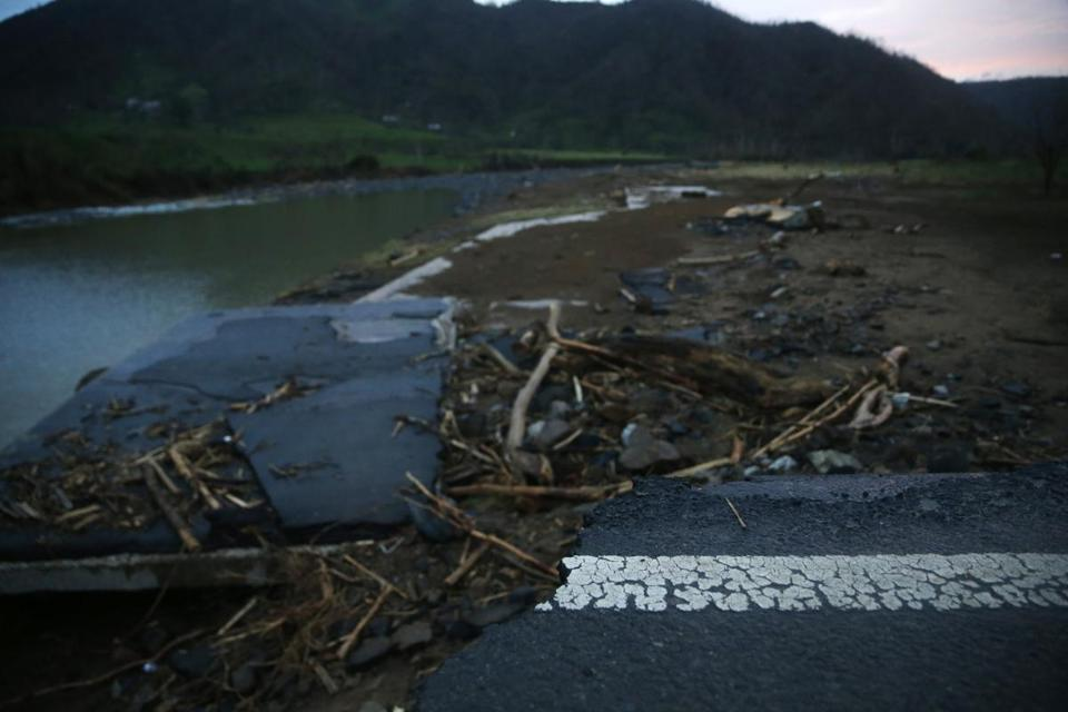 Morovis, Puerto Rico -- 9/30/2017 - The road washed out from Hurricane Maria in Morovis. (Jessica Rinaldi/Globe Staff)