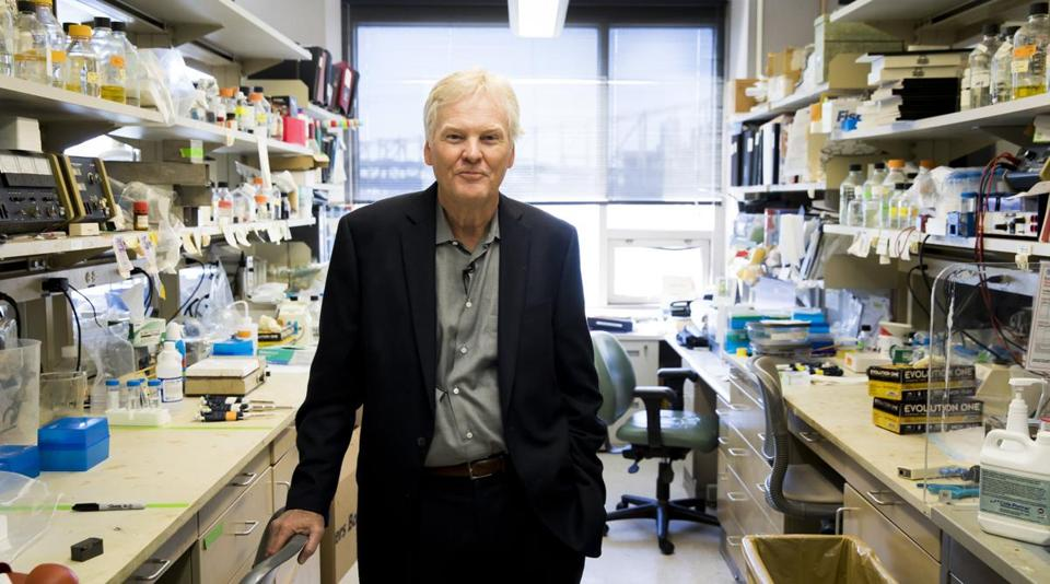 Michael W. Young, Ph.D., one of three winners of the 2017 Nobel prize for physiology or medicine, posed for a portrait in his lab in New York on Monday