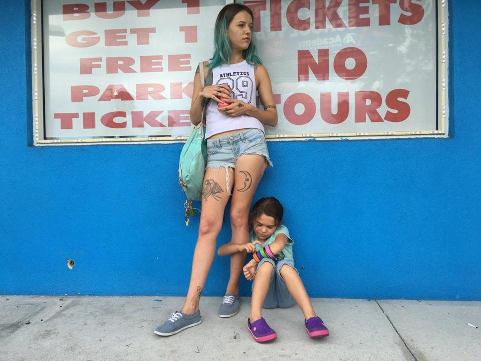 "Bria Vinaite (left) and Brooklynn Prince in ""The Florida Project."""