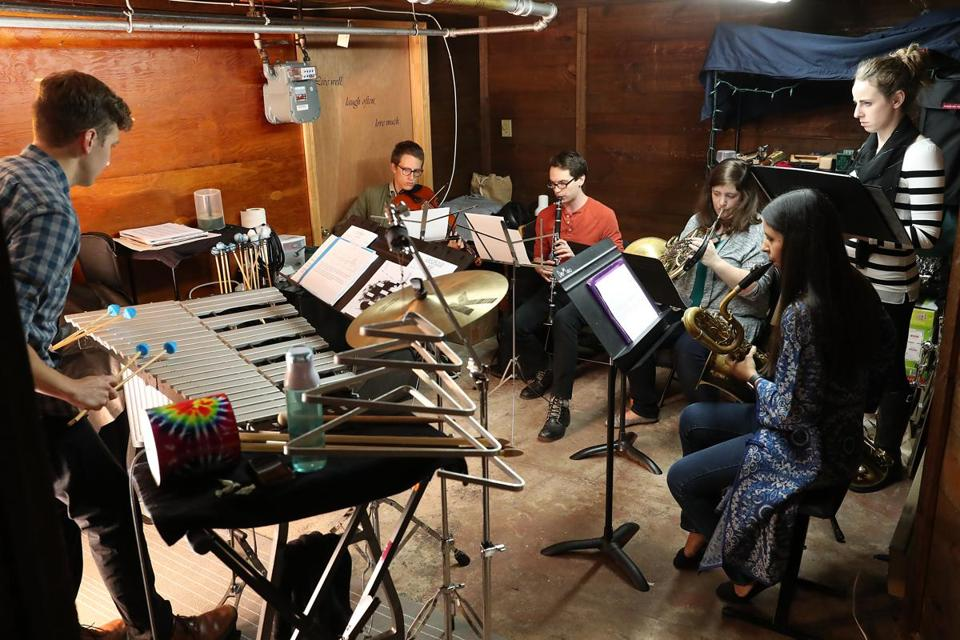 Members of the Black Sheep Contemporary Ensemble rehearse.