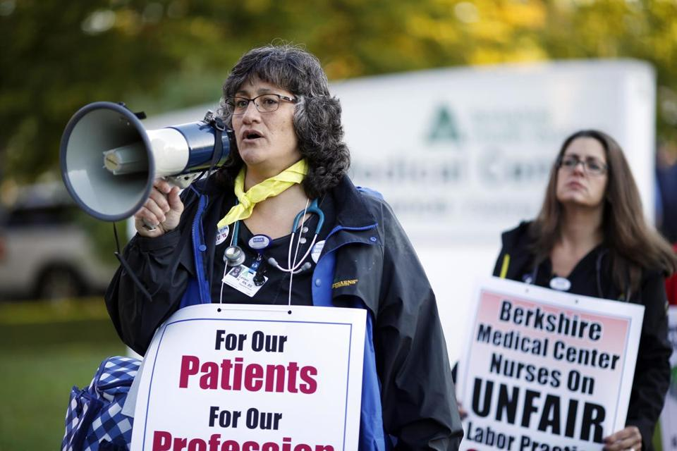 Leilani Hover, a nurse at Berkshire Medical Center, marched with about 100 other nurses on the picket line outside the Pittsfield hospital on Oct. 3 last year. The Massachusetts Nurses Association had called a one-day strike that day.