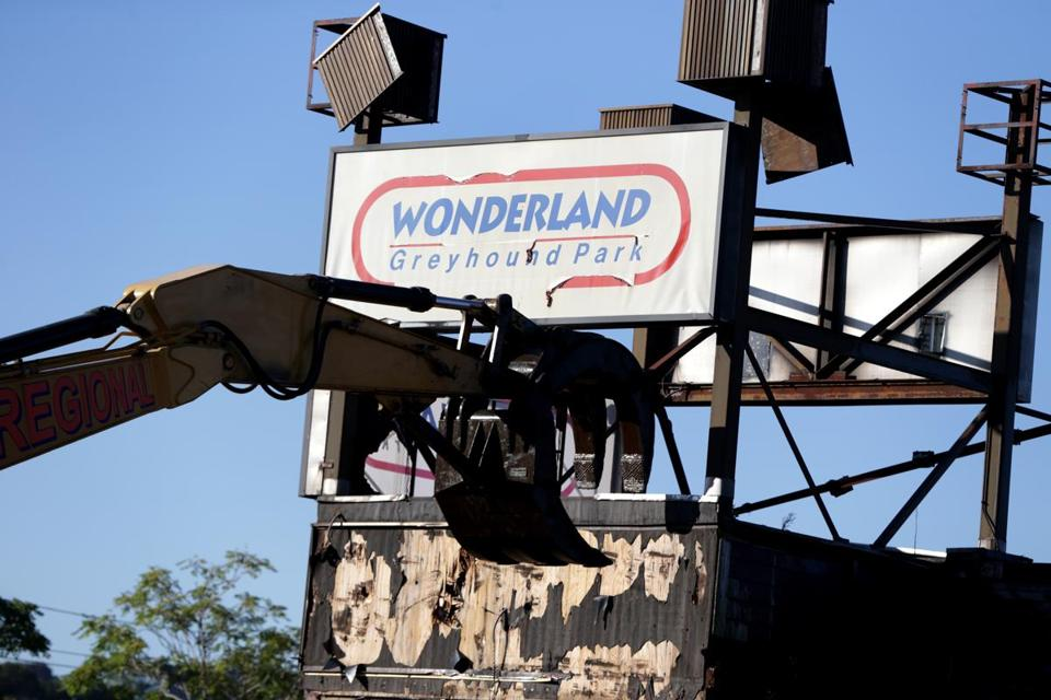 Demolition work has begun at the former Wonderland Greyhound Park, where dogs raced until 2009.