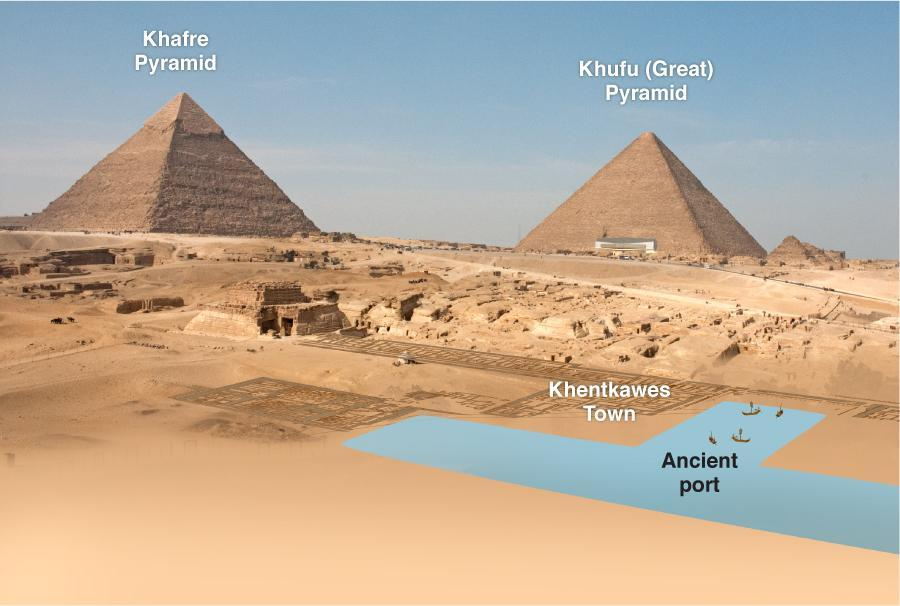 Archaeologist Mark Lehner says he's found evidence of a port next to the pyramids, which would solve one of the mysteries of how heavy stone blocks were transported. The photomontage shows current landmarks and the footprint of ancient settlements.